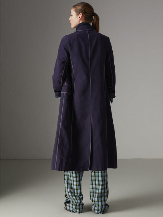Topstitched Cotton Linen Double-breasted Coat in Deep Indigo - Women | Burberry United Kingdom - cell image 2