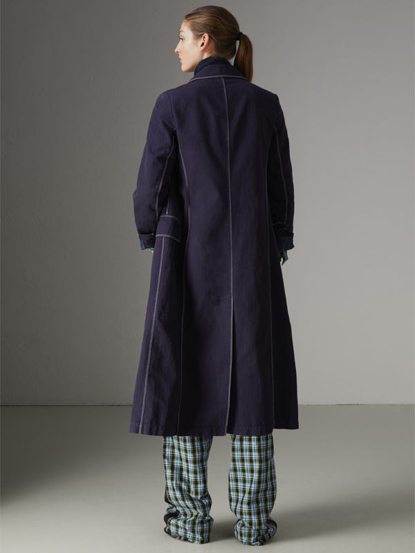Topstitched Cotton Linen Double-breasted Coat in Deep Indigo - Women | Burberry - cell image 2