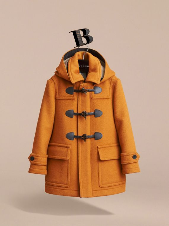 Wool Duffle Coat with Check-lined Hood in Bright Ochre - Girl | Burberry Australia - cell image 3