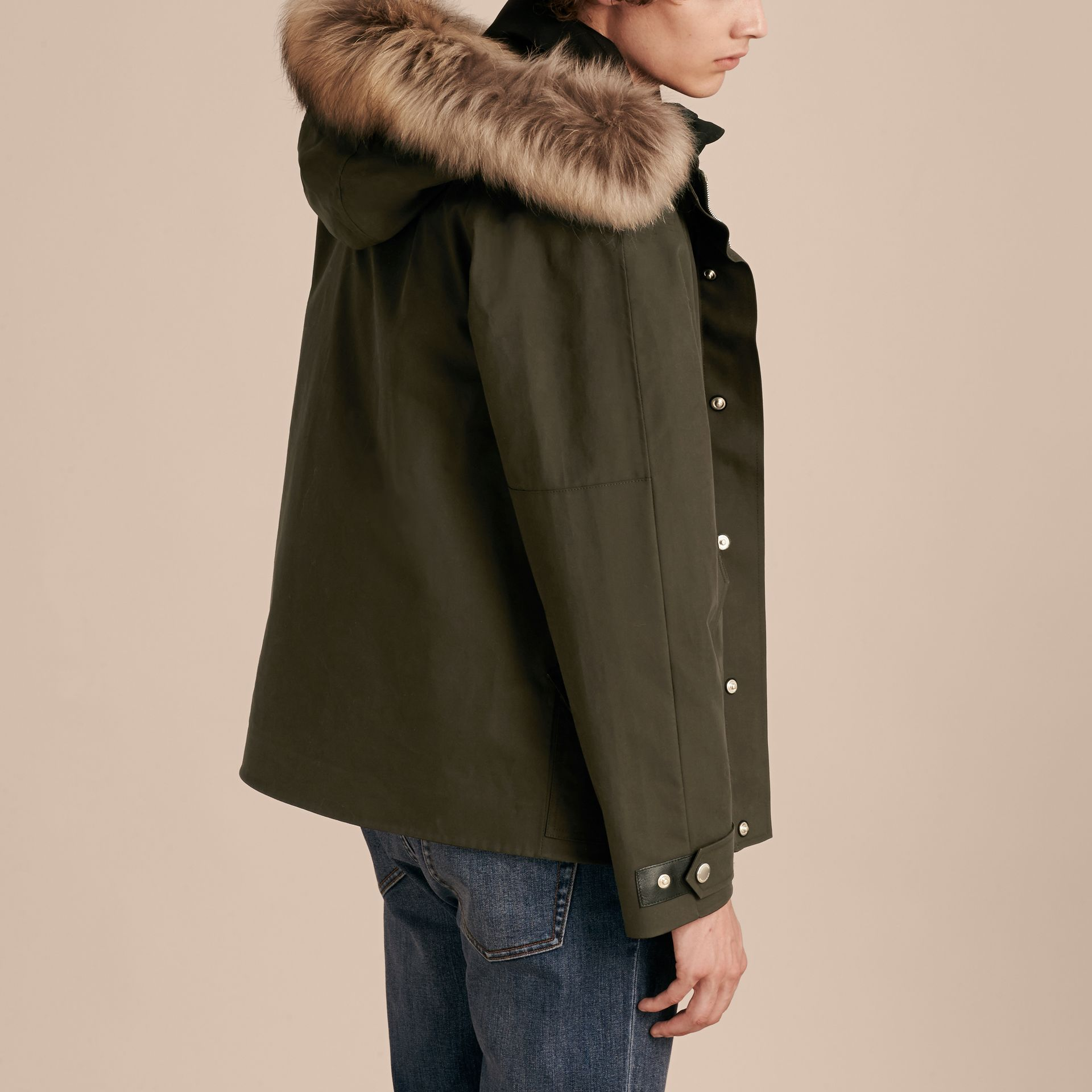Dark olive Bonded Cotton Parka Coat with Down-filled Warmer - gallery image 2