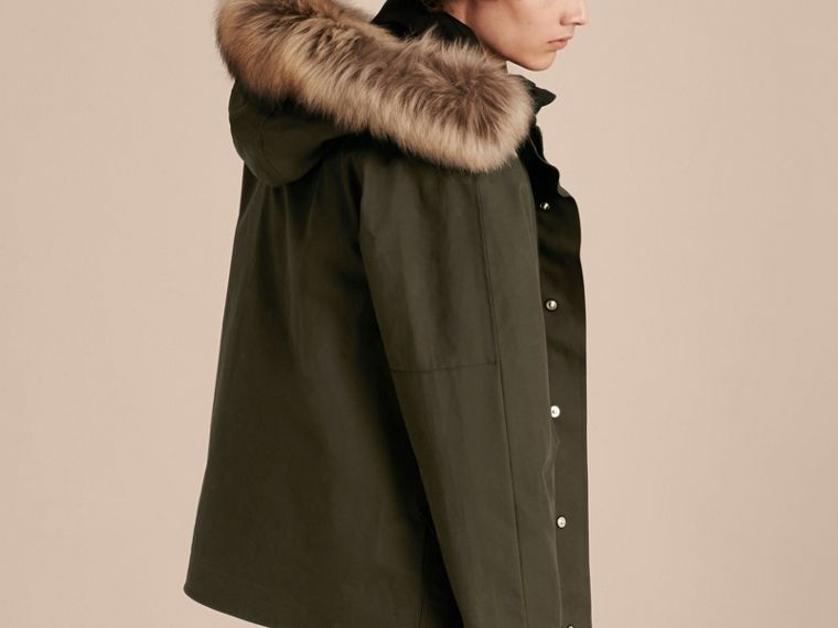 Dark olive Bonded Cotton Parka Coat with Down-filled Warmer - cell image 1
