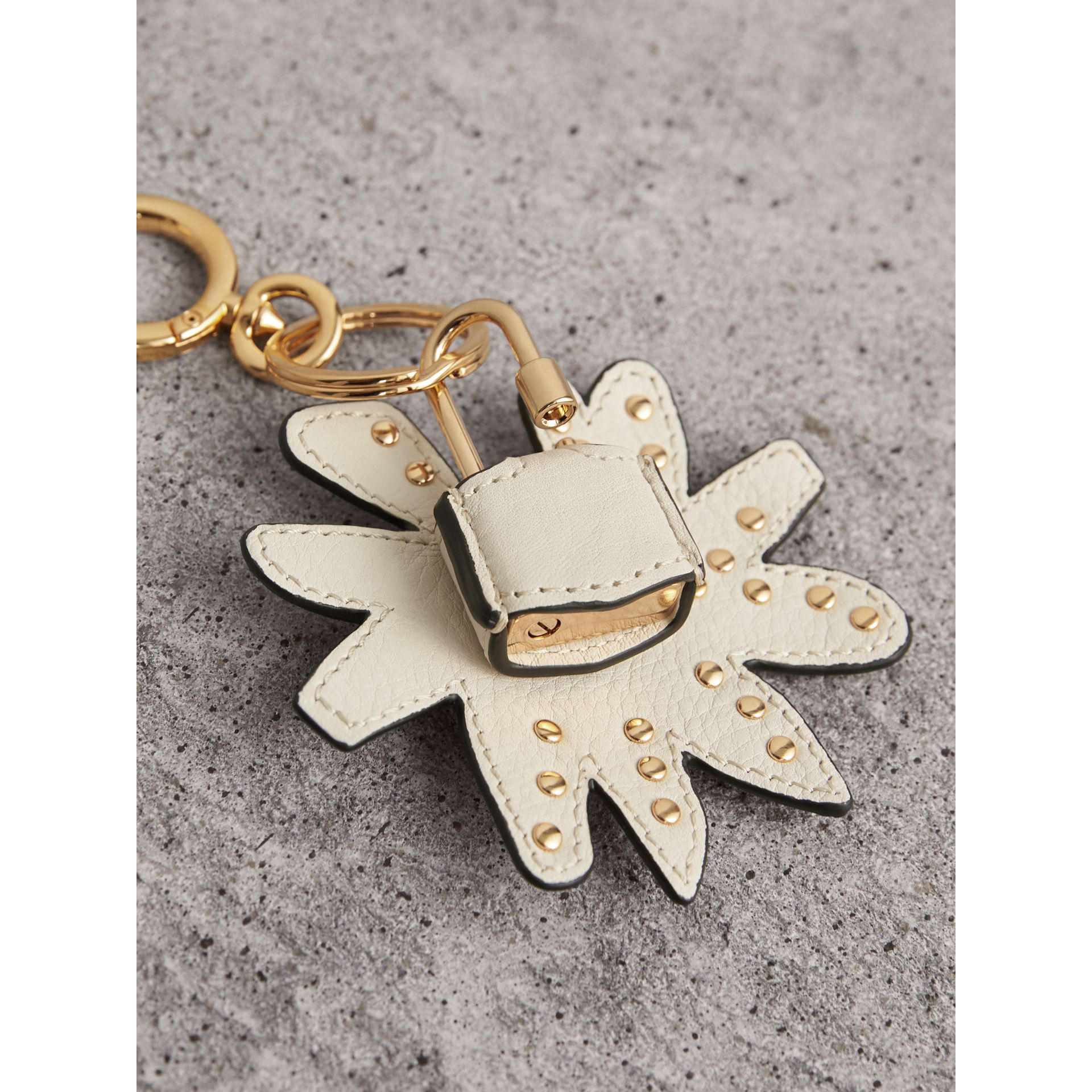 Doodle Motif Leather Key Charm and Padlock in Natural | Burberry United Kingdom - gallery image 3