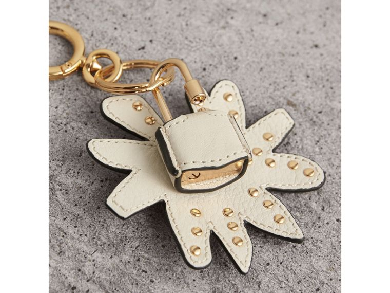 Doodle Motif Leather Key Charm and Padlock in Natural | Burberry - cell image 2