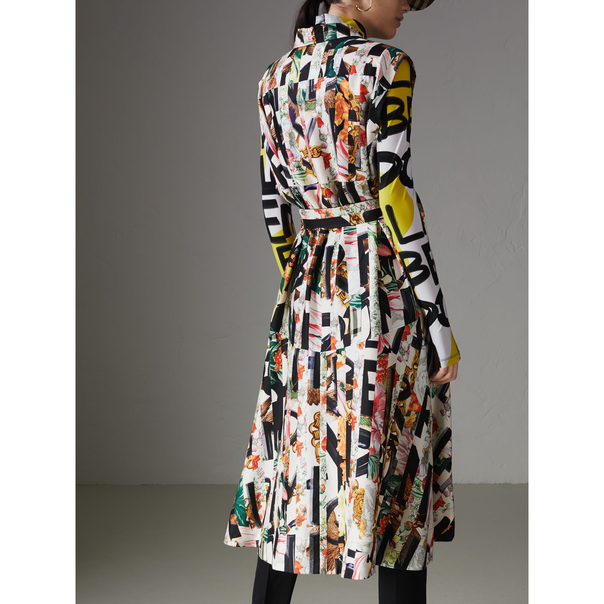 Graffiti Archive Scarf Print Silk Shirt Dress in Multicolour - Women | Burberry United Kingdom - gallery image 2