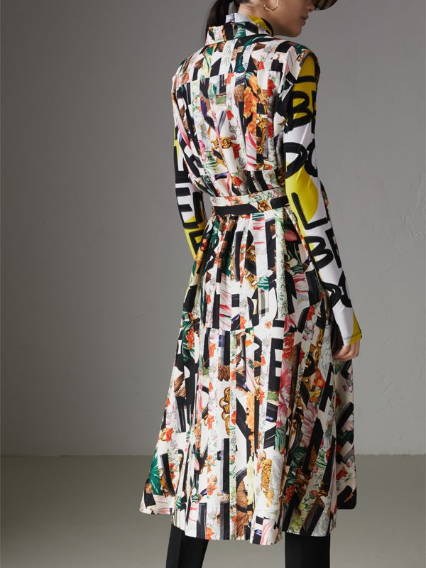 Graffiti Archive Scarf Print Silk Shirt Dress in Multicolour - Women | Burberry - cell image 2