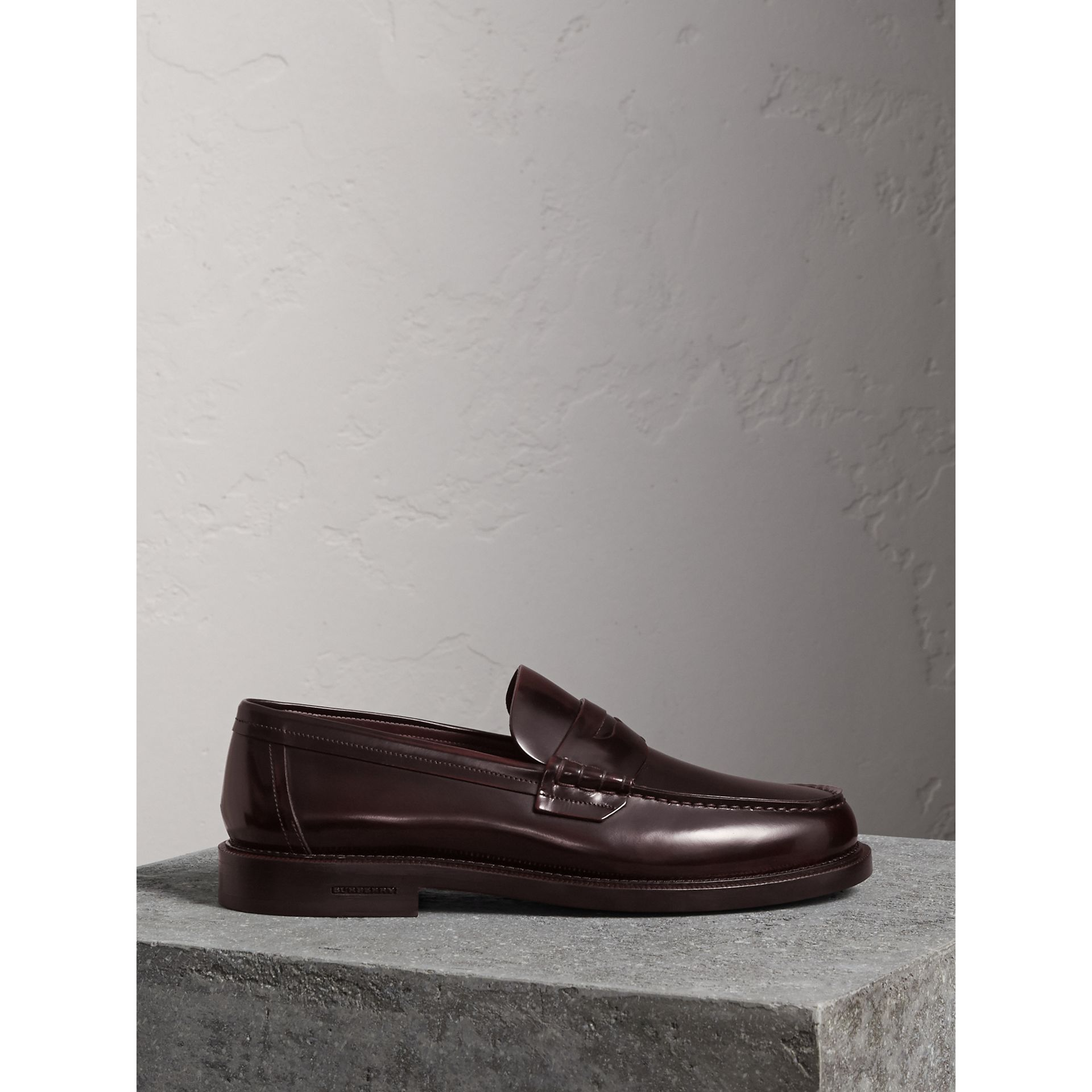Leather Penny Loafers in Rust Red - Men | Burberry - gallery image 0