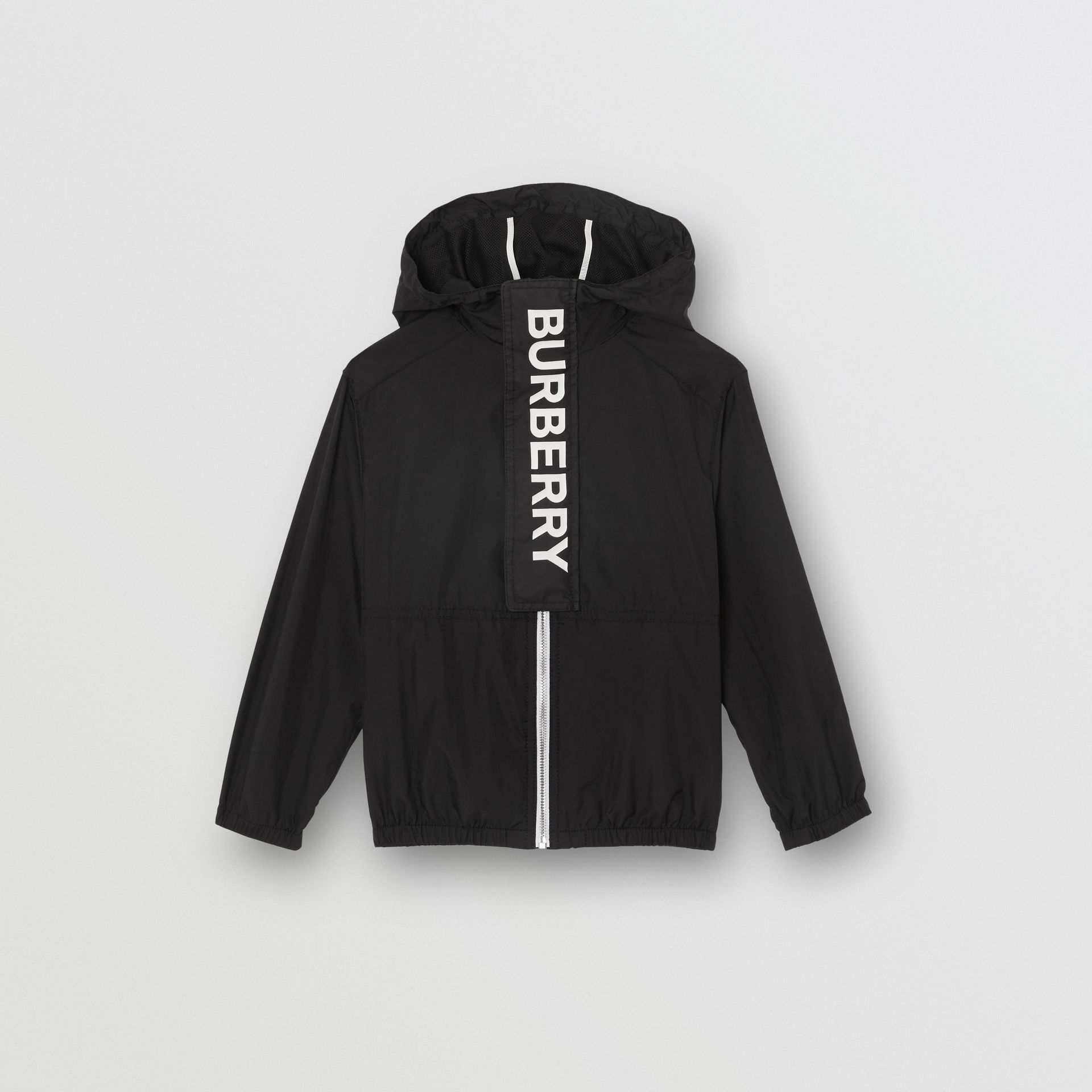 Logo Print Lightweight Hooded Jacket in Black | Burberry United Kingdom - gallery image 0