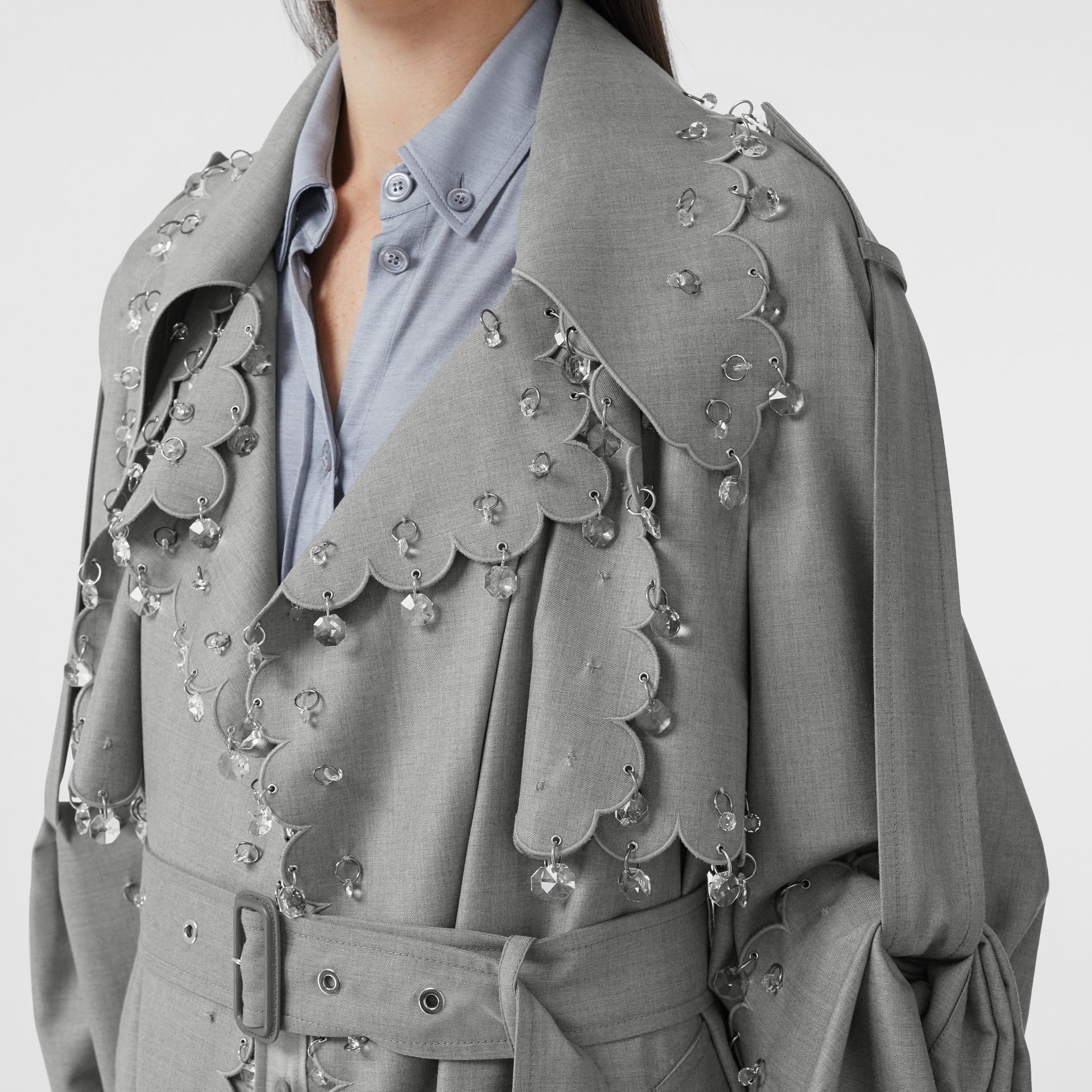 Crystal Ring-pierced Wool Reconstructed Trench Coat in Cloud Grey - Women | Burberry - gallery image 1
