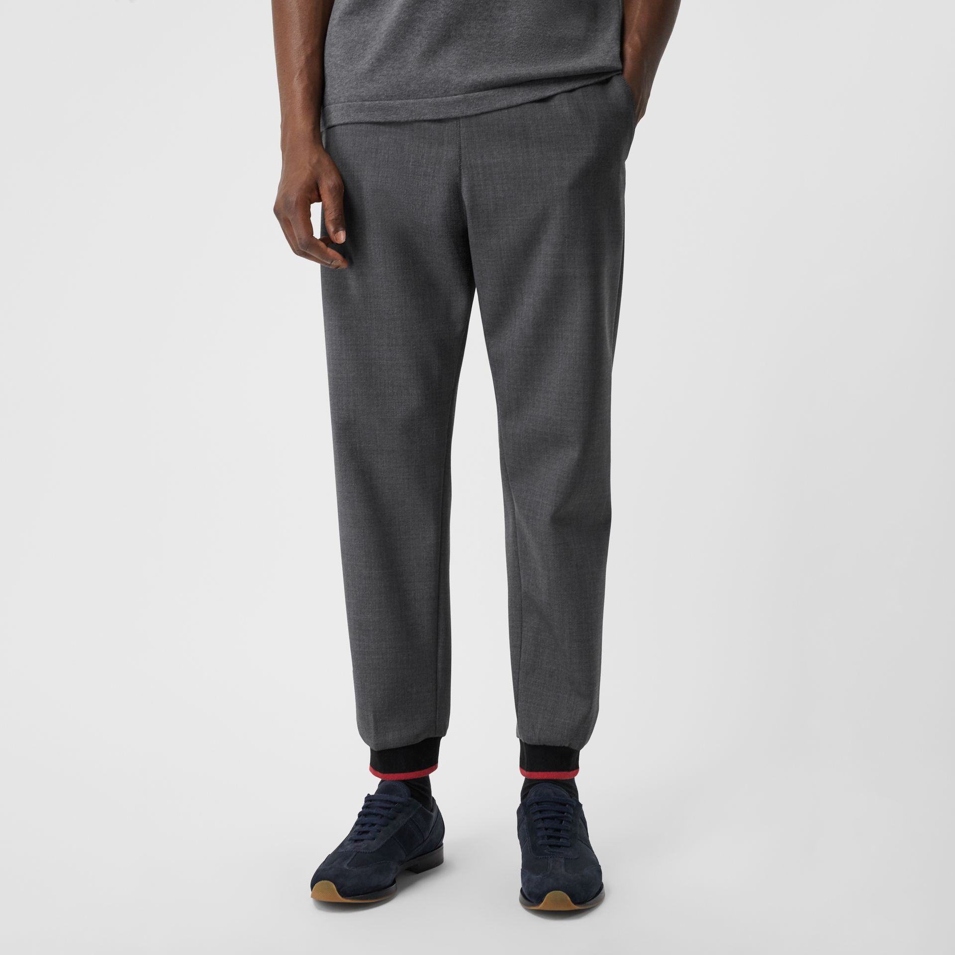 Stripe Detail Stretch Wool Neoprene Trackpants in Dark Grey Melange - Men | Burberry - gallery image 5