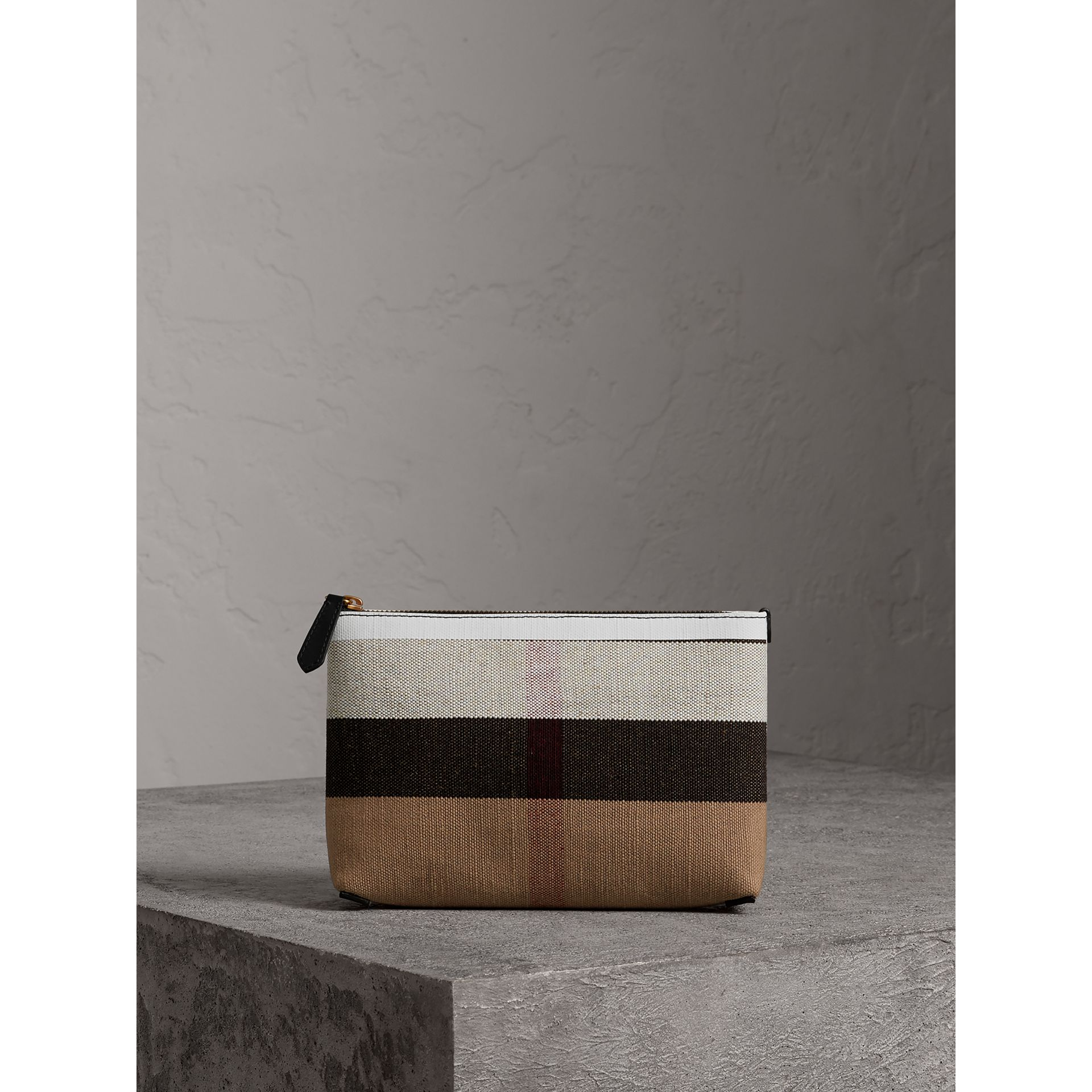 Medium Canvas Check and Leather Zip Pouch in Black/white - Women | Burberry - gallery image 0