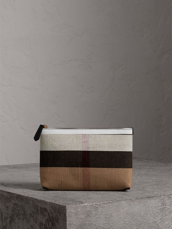 Medium Canvas Check and Leather Zip Pouch in Black/white