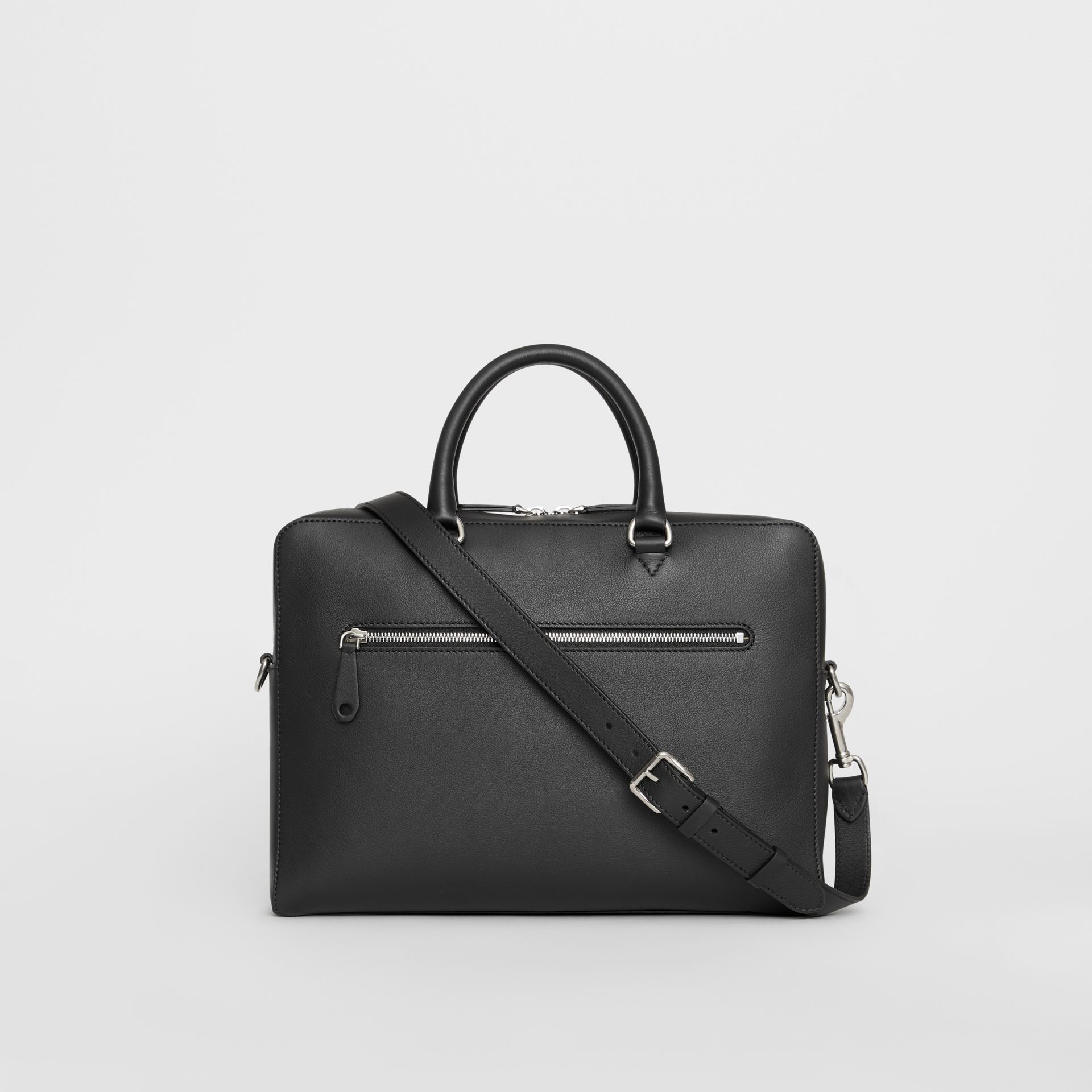 Embossed Crest Leather Briefcase in Black - Men | Burberry - gallery image 7