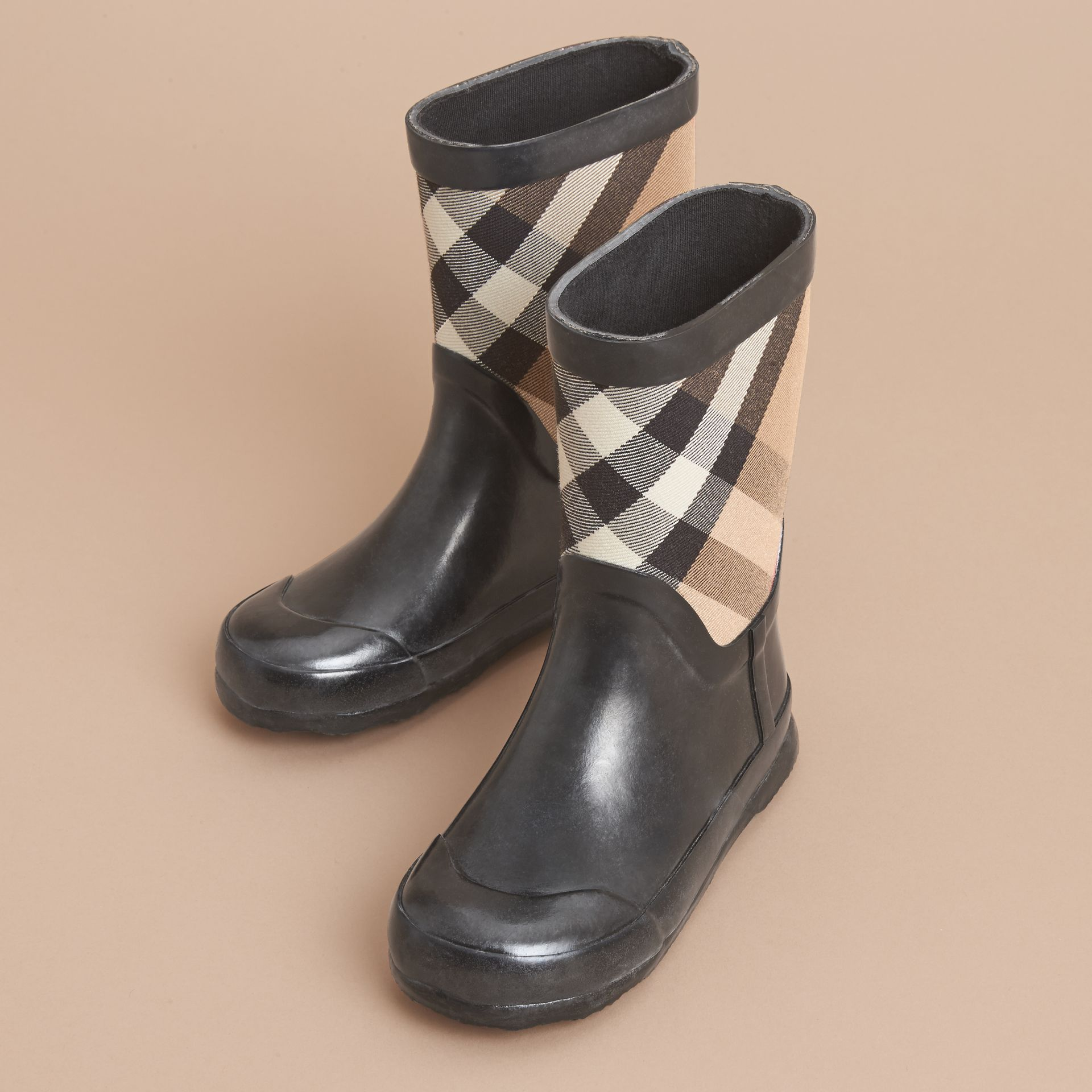 House Check Panel Rain Boots | Burberry Canada - gallery image 3