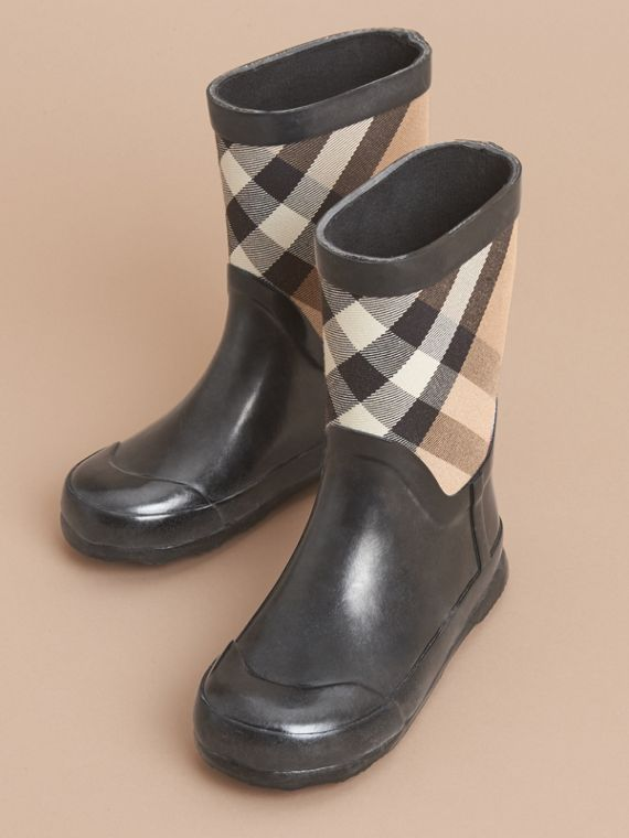 House Check Panel Rain Boots | Burberry Canada - cell image 2