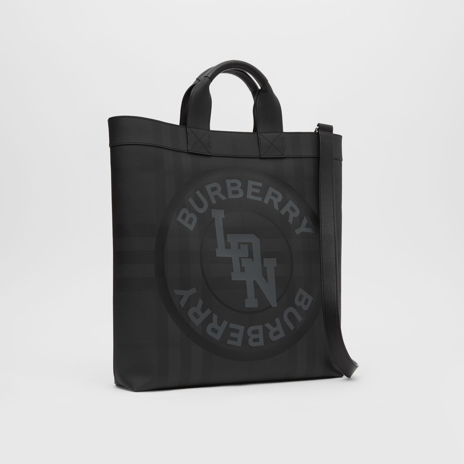 Logo Graphic London Check Tote in Dark Charcoal - Men | Burberry - gallery image 8