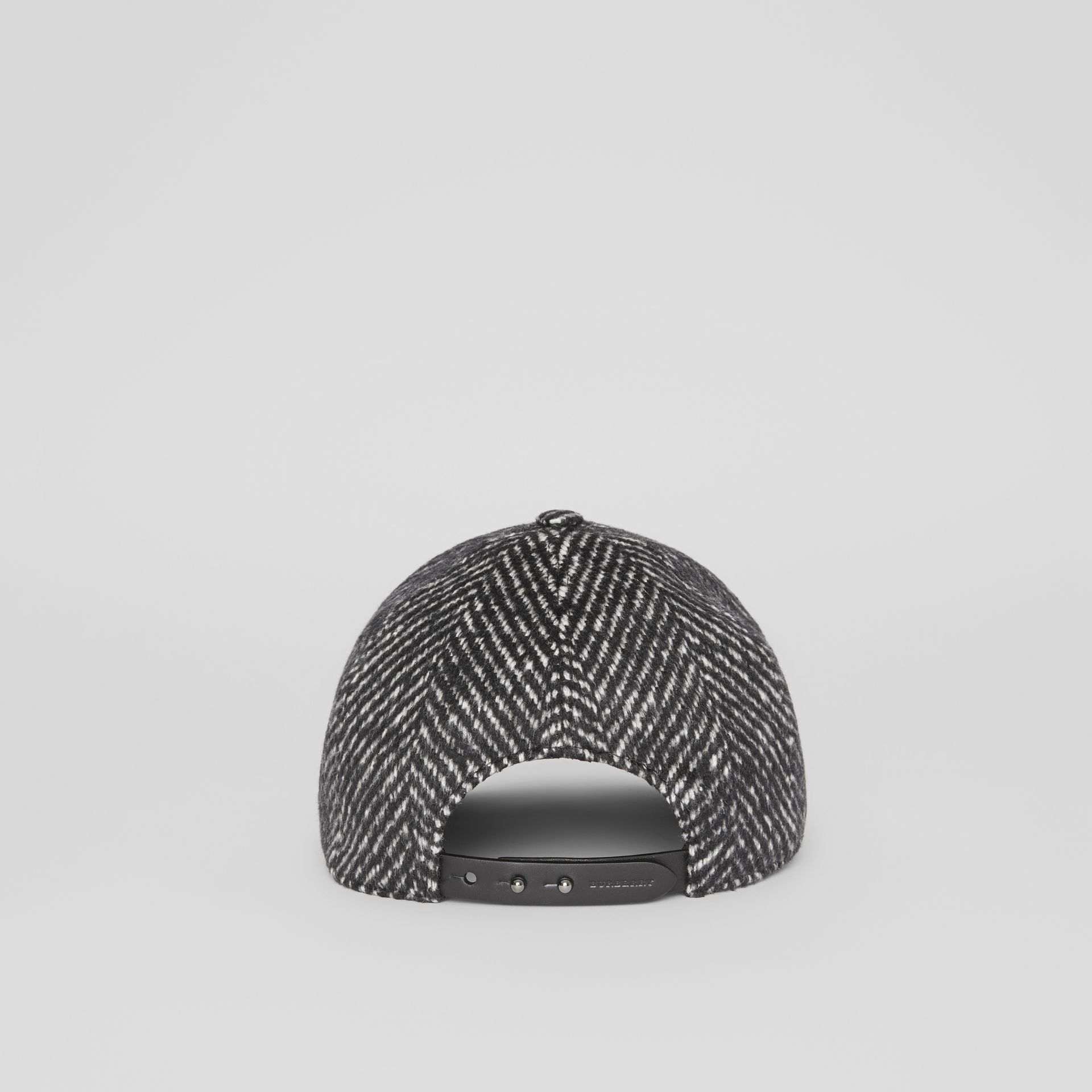 Herringbone Wool Silk Blend Baseball Cap in Black | Burberry - gallery image 4