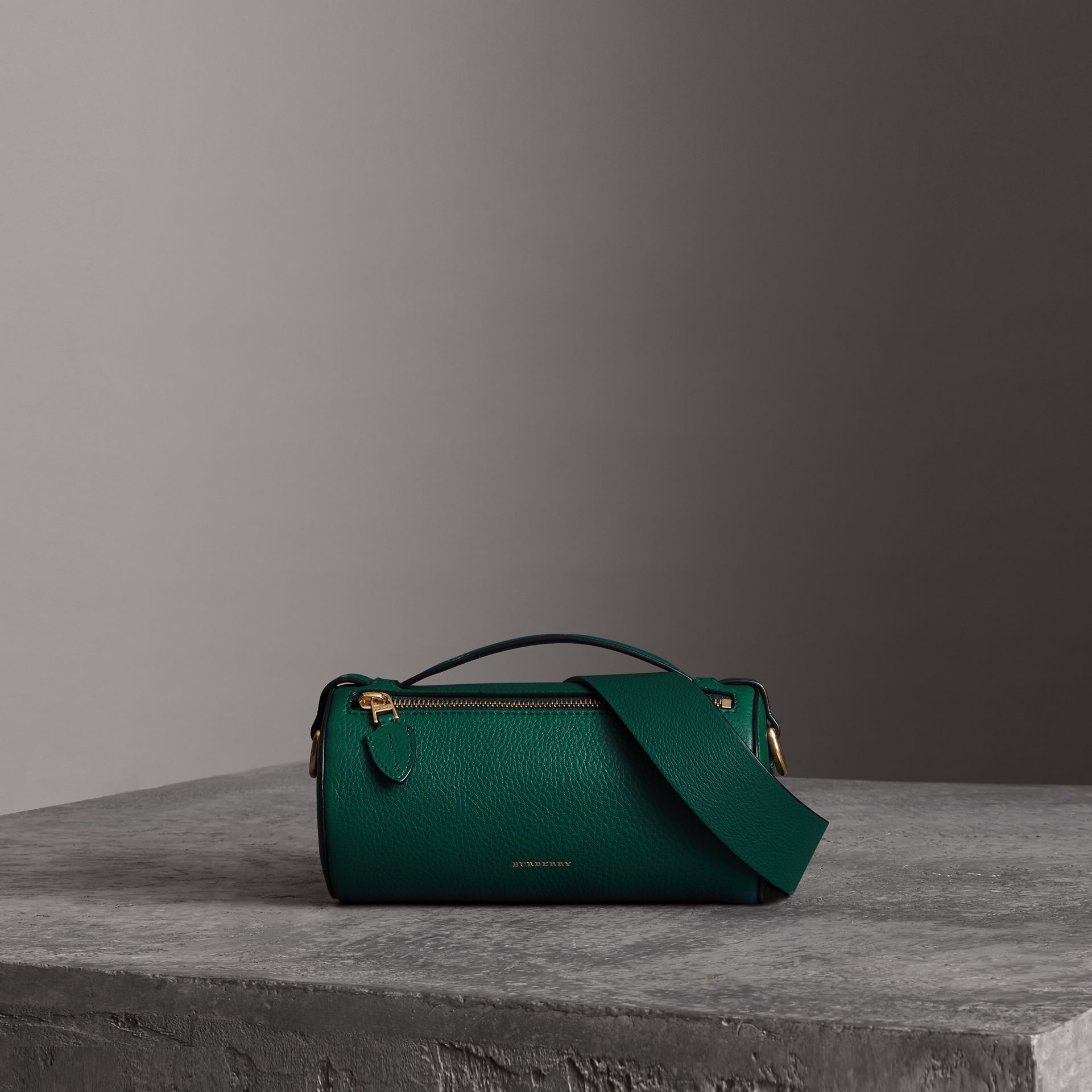 The Leather Barrel Bag in Dark Cyan - Women | Burberry - gallery image 0