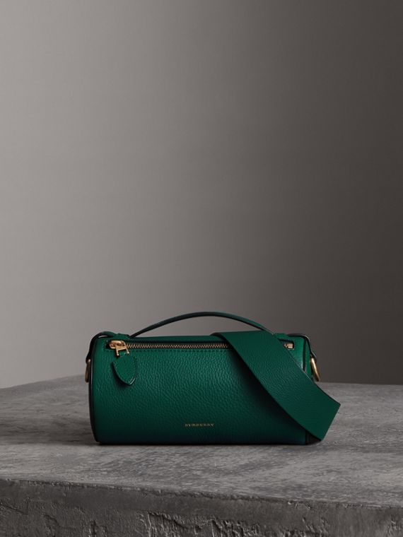 The Leather Barrel Bag in Dark Cyan