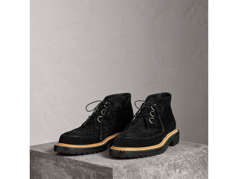 Woven-toe Suede Ankle Boots in Black - Men | Burberry Singapore - cell image 4