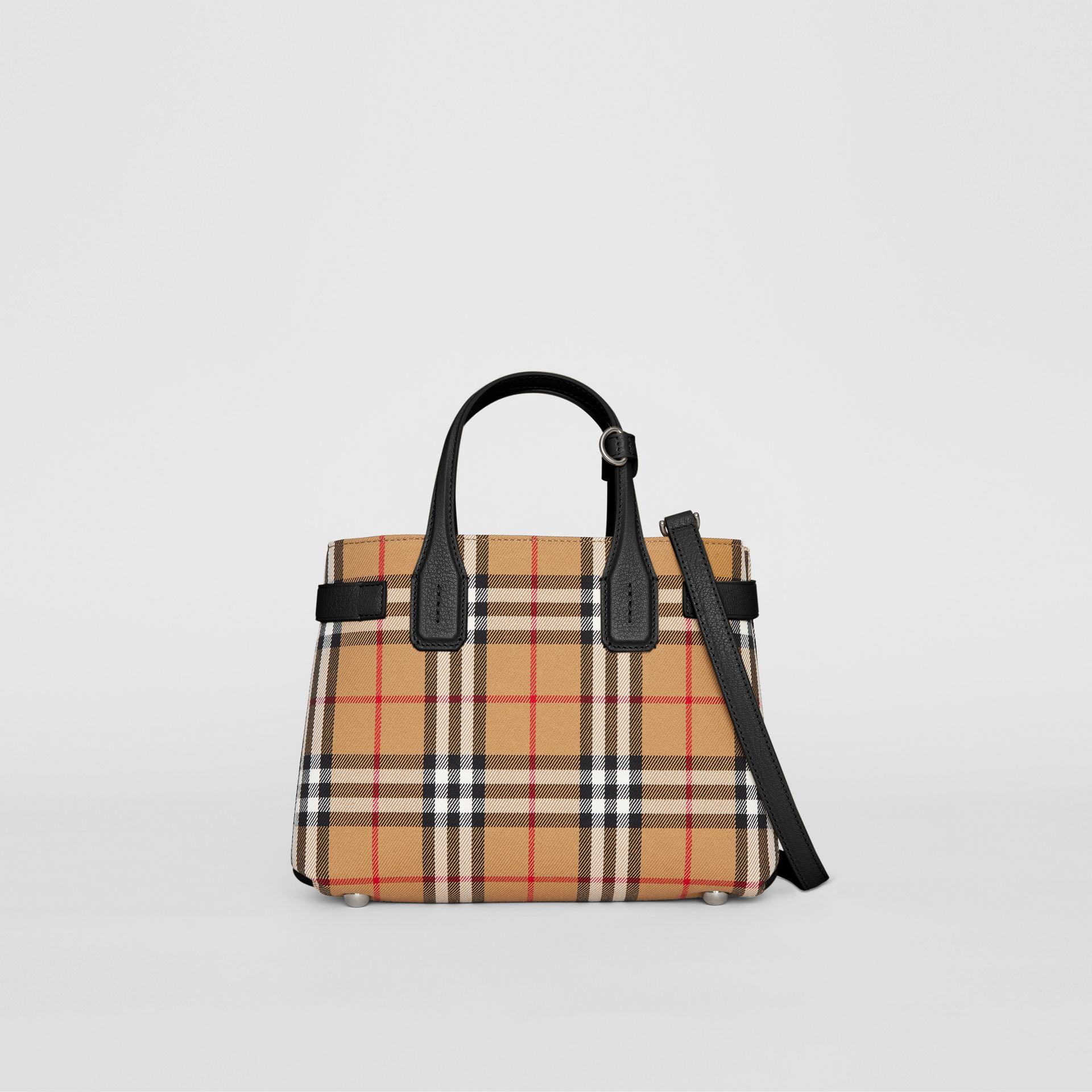 The Small Banner in Vintage Check and Leather in Black - Women | Burberry - gallery image 0