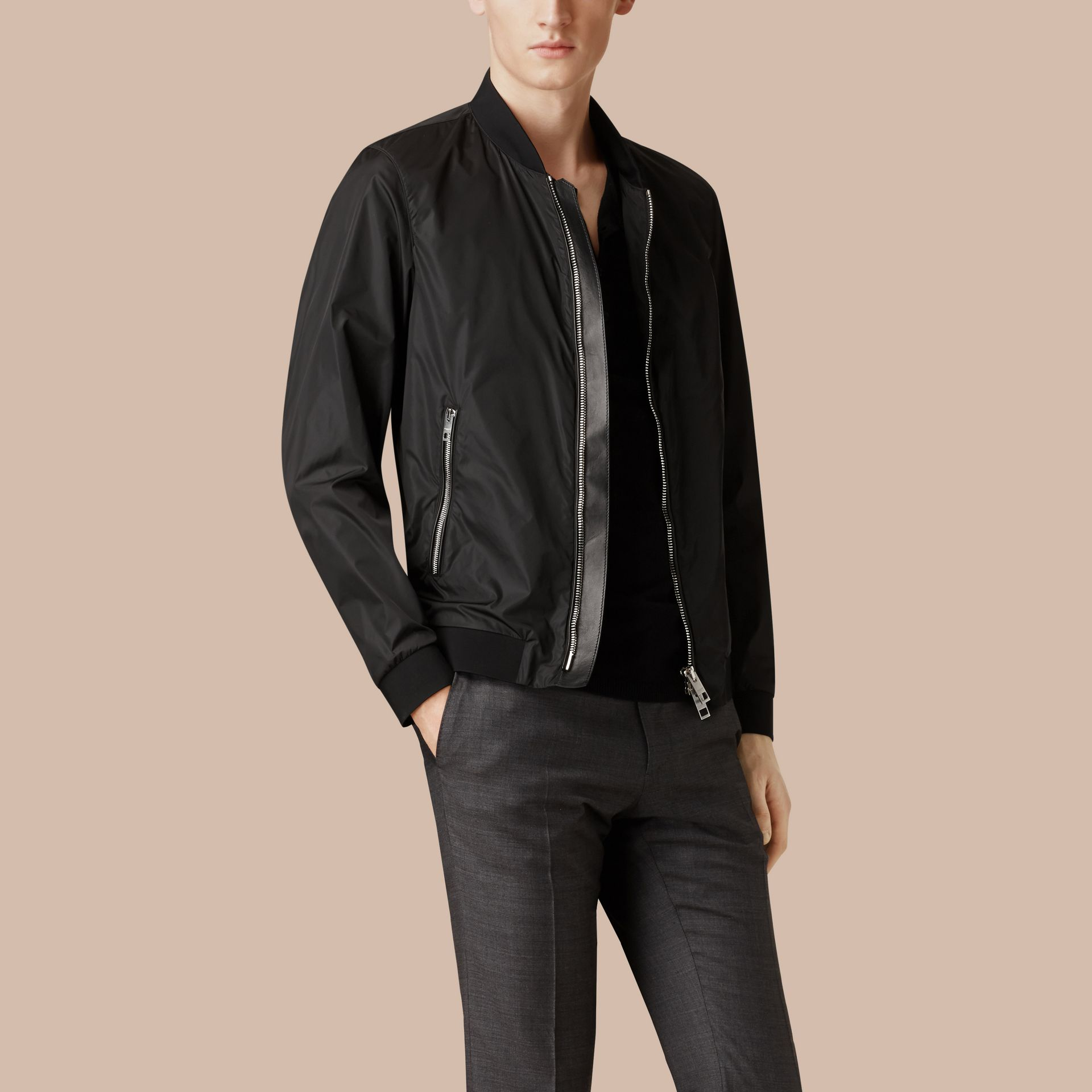 Black Showerproof Bomber Jacket - gallery image 4
