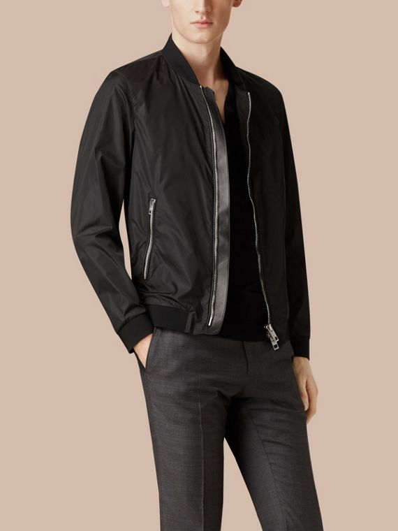 Black Showerproof Bomber Jacket - cell image 3