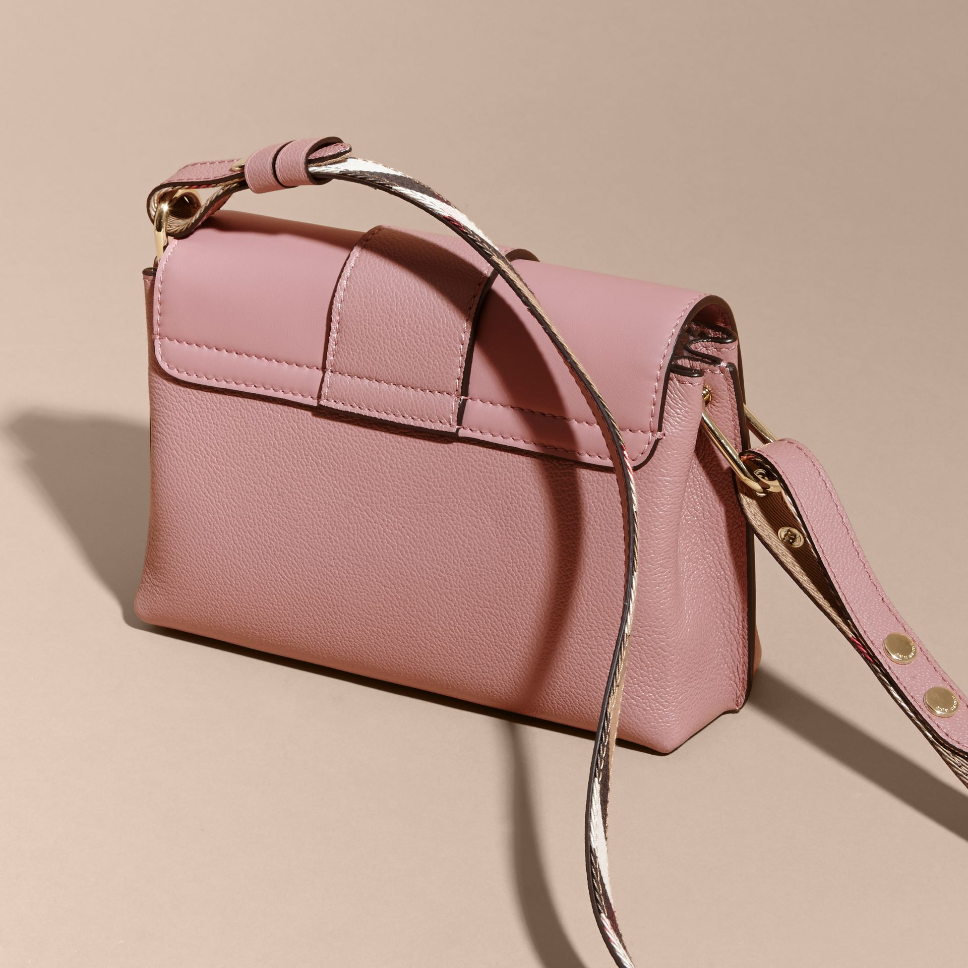 The Buckle Crossbody Bag in Leather in Dusty Pink - gallery image 5