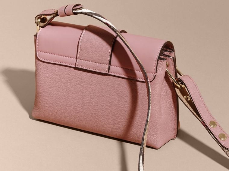The Buckle Crossbody Bag in Leather in Dusty Pink - cell image 4