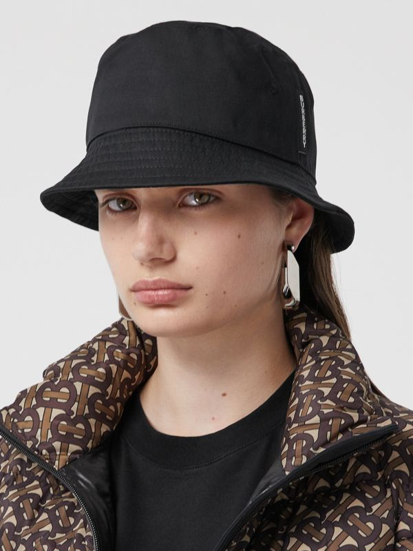 Logo Detail Cotton Twill Bucket Hat in Black | Burberry Singapore - cell image 2