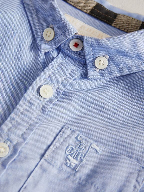 Cotton Oxford Shirt in Cornflower Blue - Children | Burberry - cell image 1