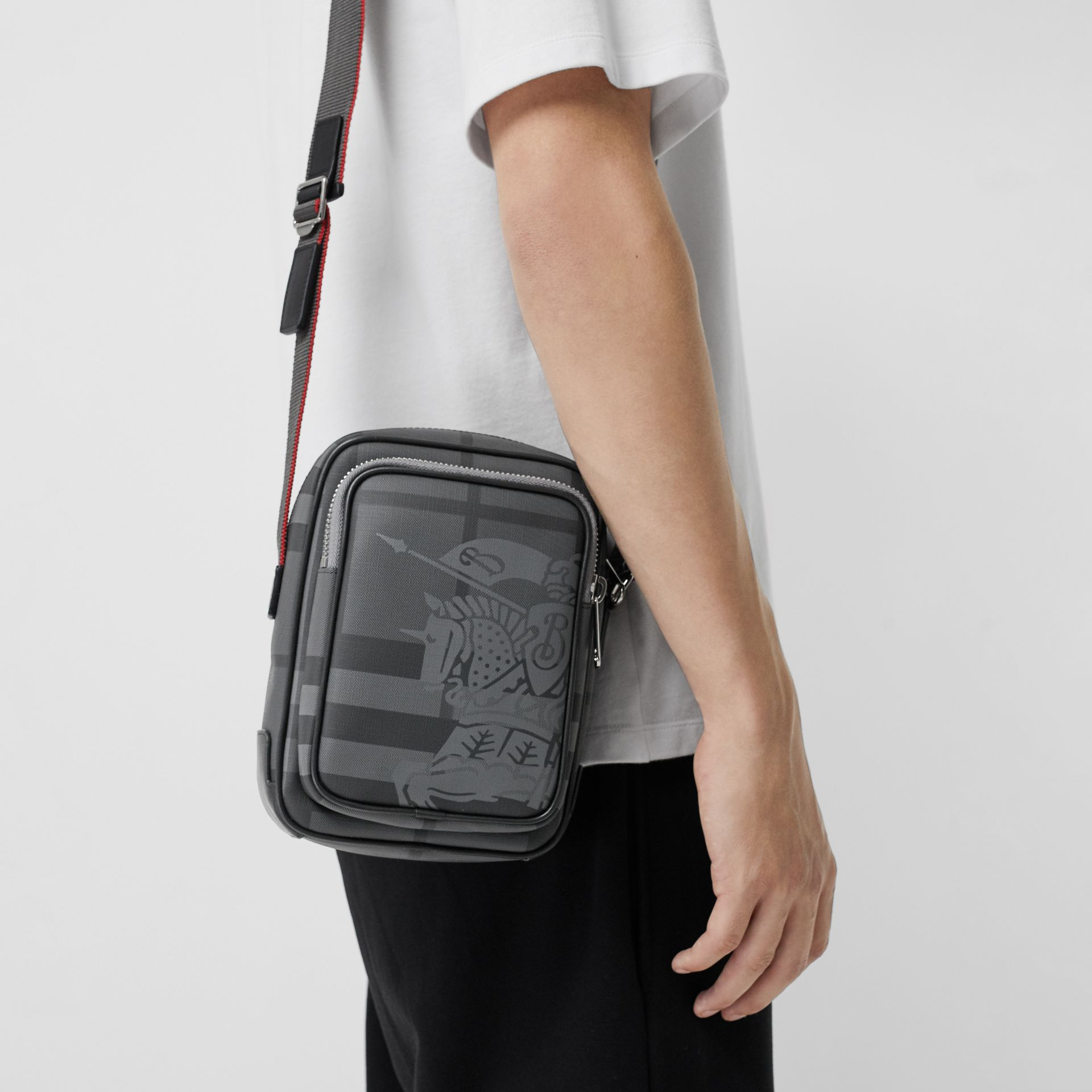 Small EKD London Check Crossbody Bag in Charcoal/black - Men | Burberry - gallery image 3