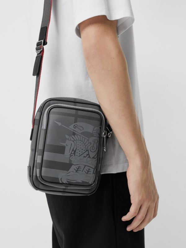 Small EKD London Check Crossbody Bag in Charcoal/black - Men | Burberry Canada - cell image 3
