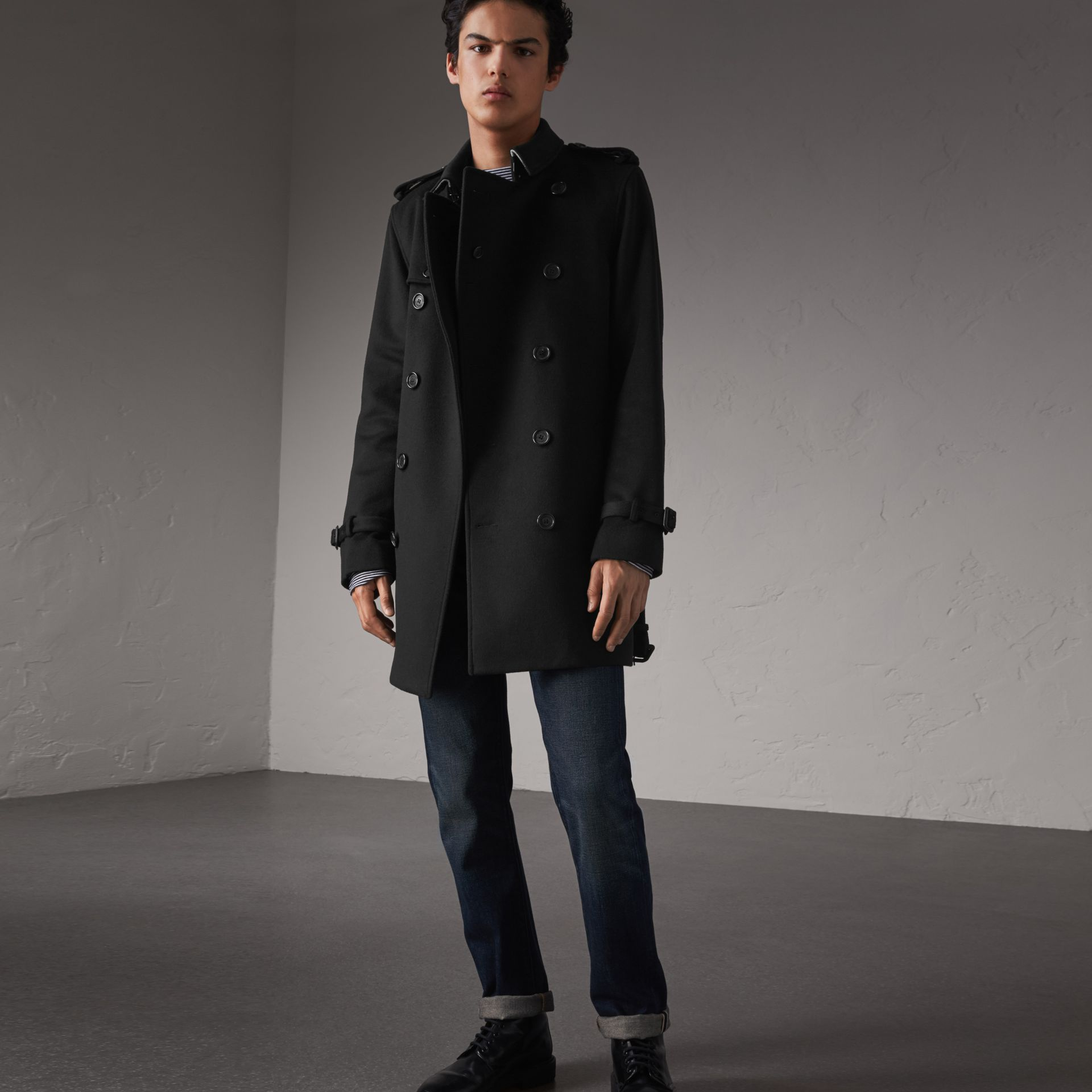 Wool Cashmere Trench Coat in Black - Men | Burberry Australia - gallery image 0