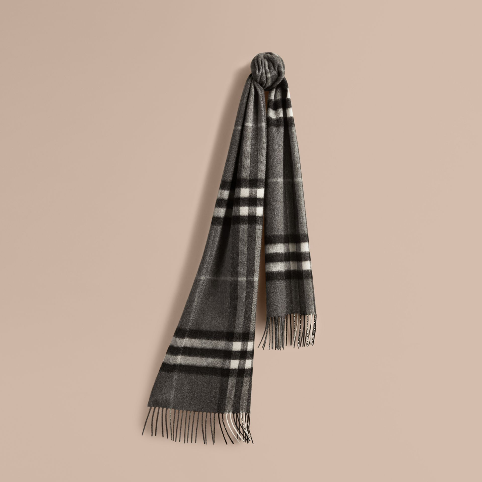 The Classic Cashmere Scarf in Check in Mid Grey | Burberry Singapore - gallery image 6