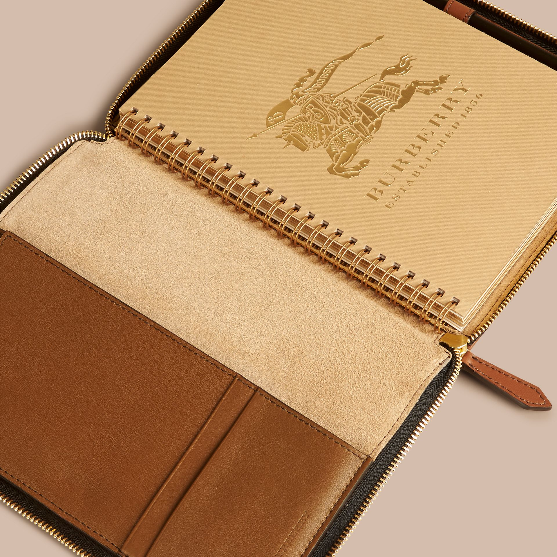 Tan Ziparound Leather and House Check A5 Notebook - gallery image 3