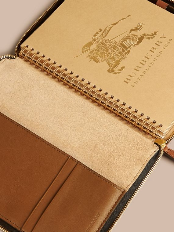 Tan Ziparound Leather and House Check A5 Notebook - cell image 2