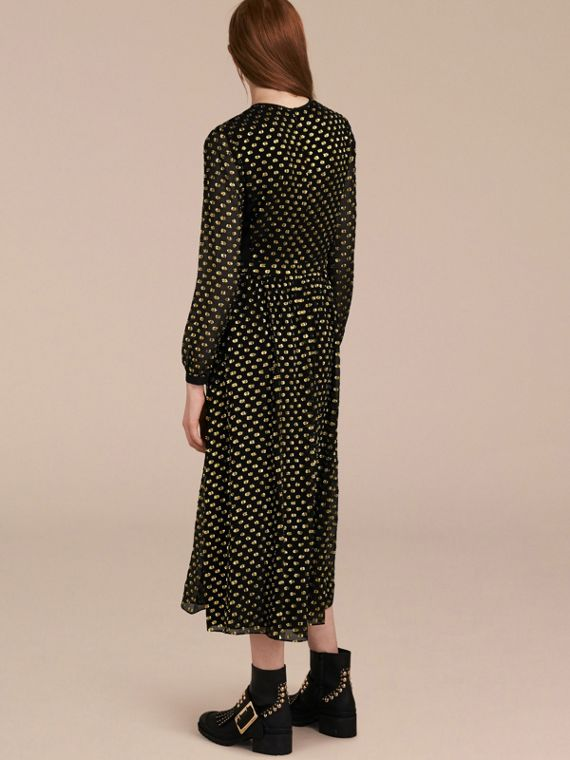 Gold/black Metallic Polka Dot Long-sleeved Silk Dress - cell image 2