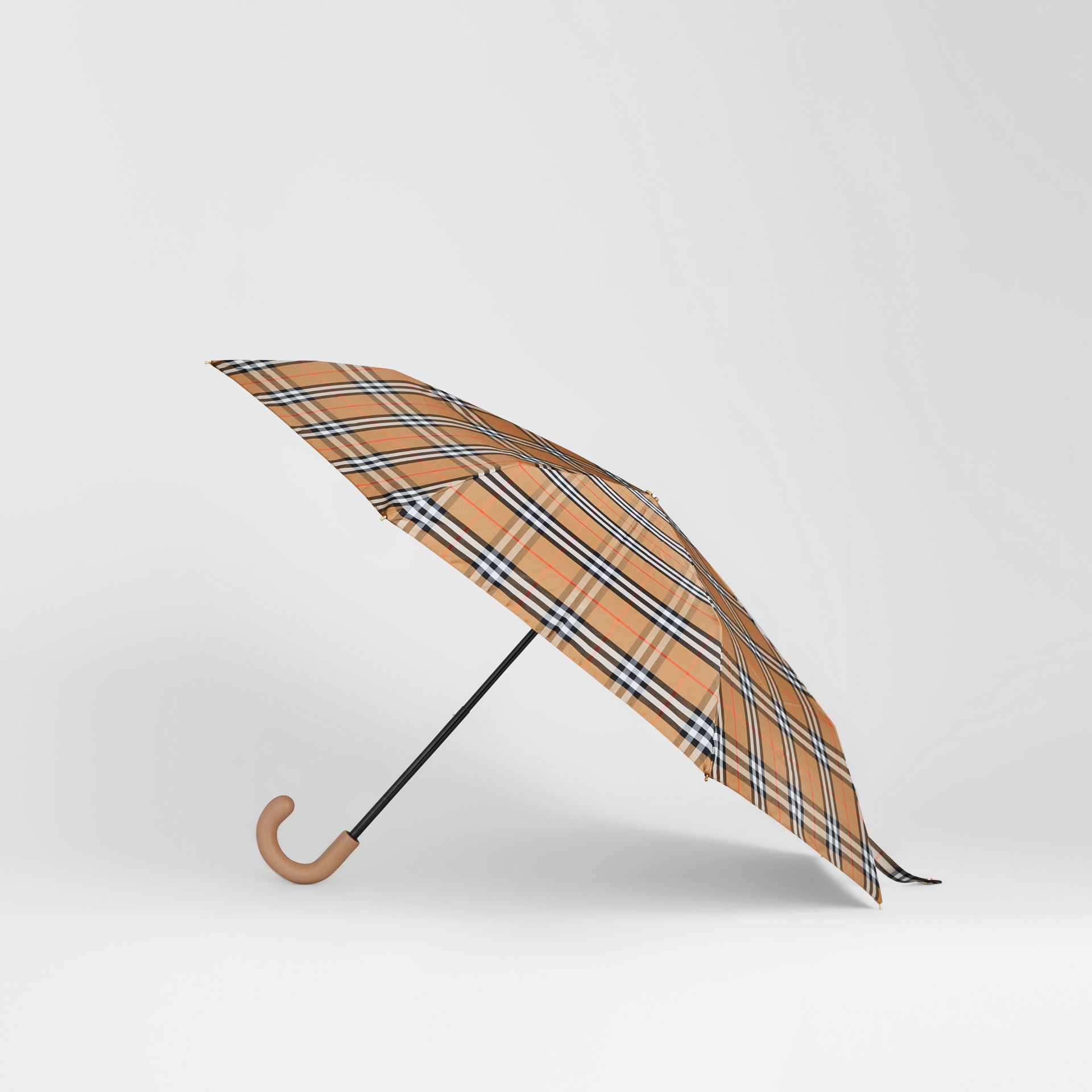Parapluie télescopique à motif Vintage check (Jaune Antique/miel) | Burberry - photo de la galerie 4