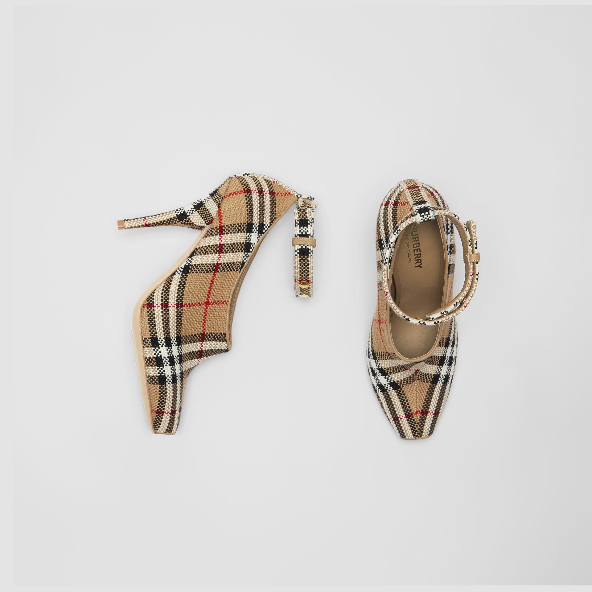 Vintage Check Peep-toe Pumps in Archive Beige - Women | Burberry - gallery image 0