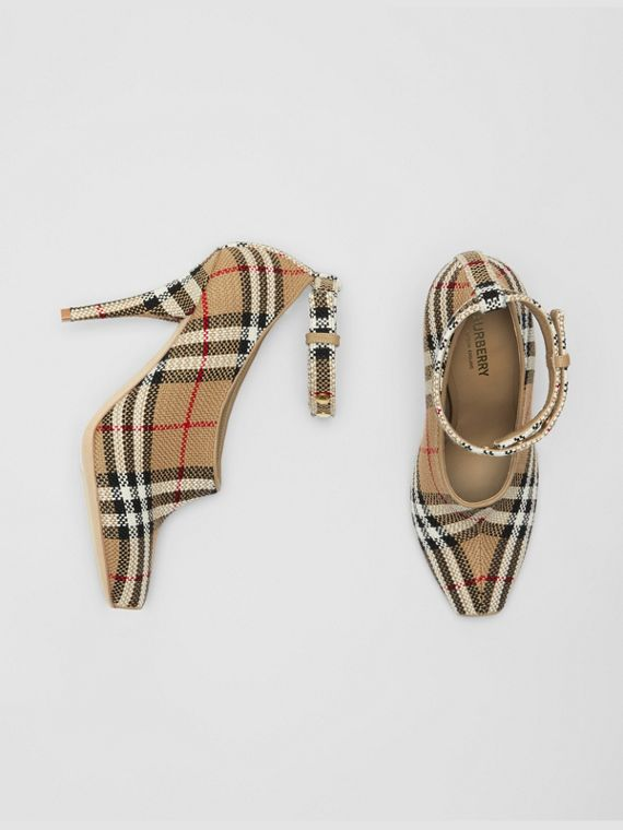 Vintage Check Peep-toe Pumps in Archive Beige