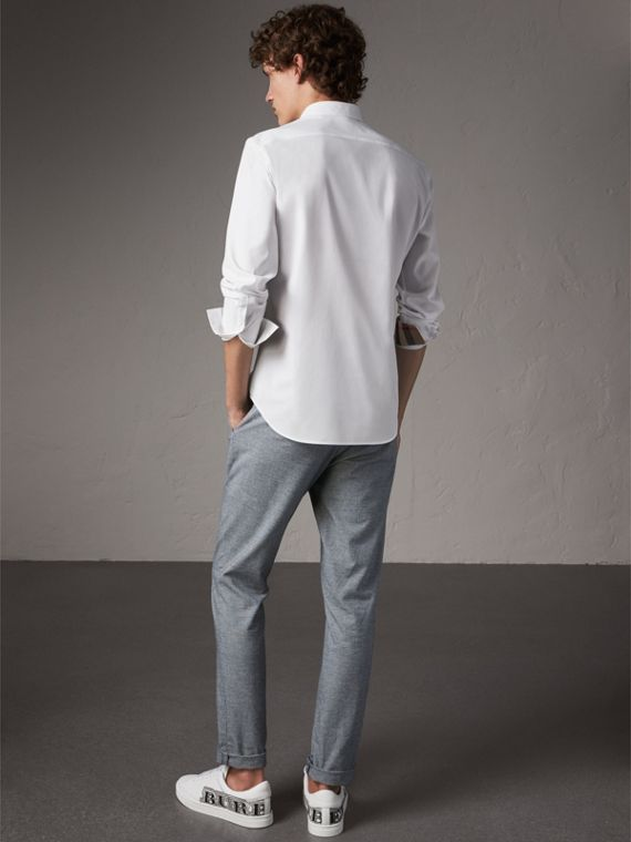 Stretch Cotton Poplin Shirt in White - Men | Burberry Australia - cell image 2