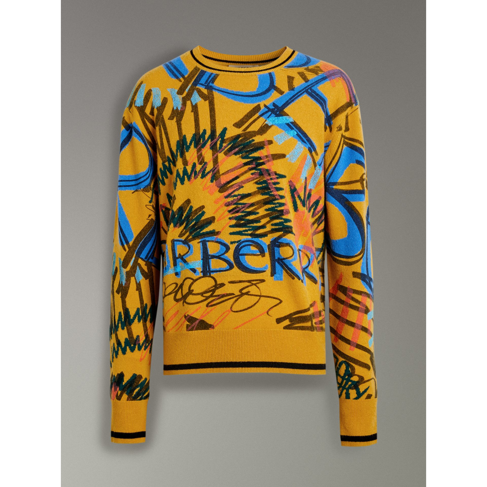 Graffiti Scribble Intarsia Cashmere Sweater in Amber Yellow - Men | Burberry Australia - gallery image 3