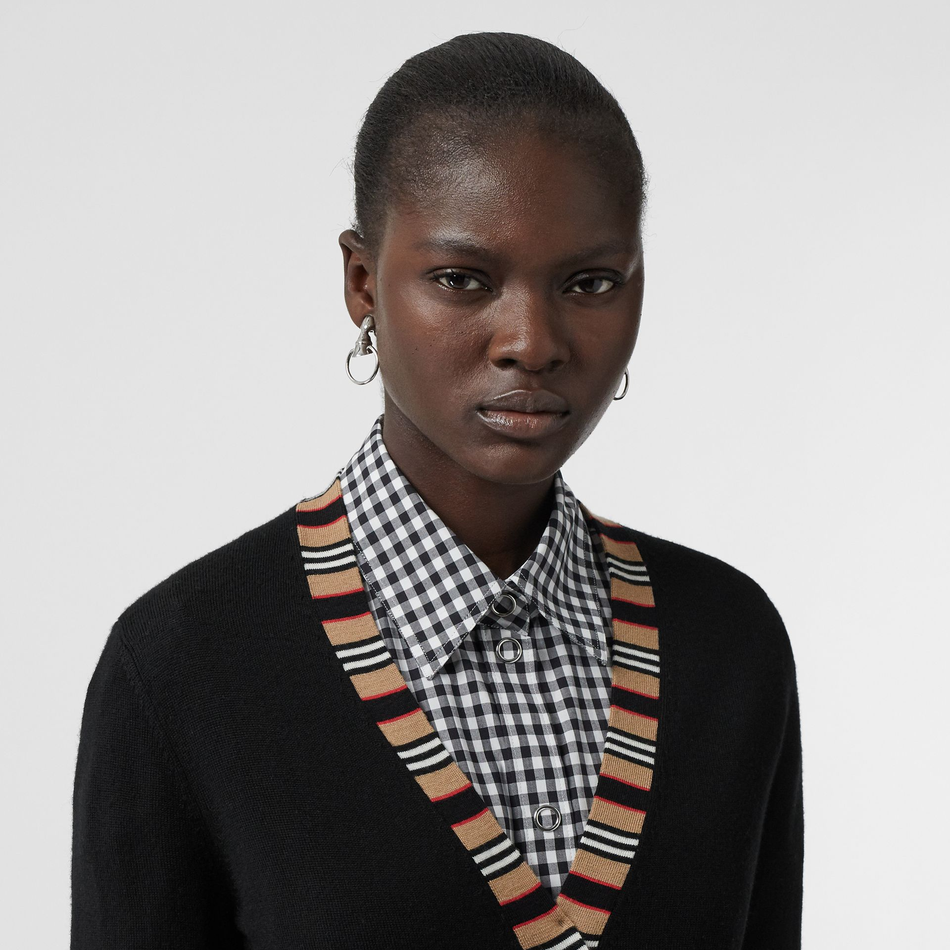 Icon Stripe Detail Merino Wool Cardigan in Black - Women | Burberry Hong Kong - gallery image 1
