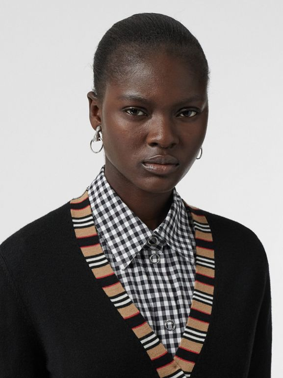 Icon Stripe Detail Merino Wool Cardigan in Black - Women | Burberry Hong Kong - cell image 1