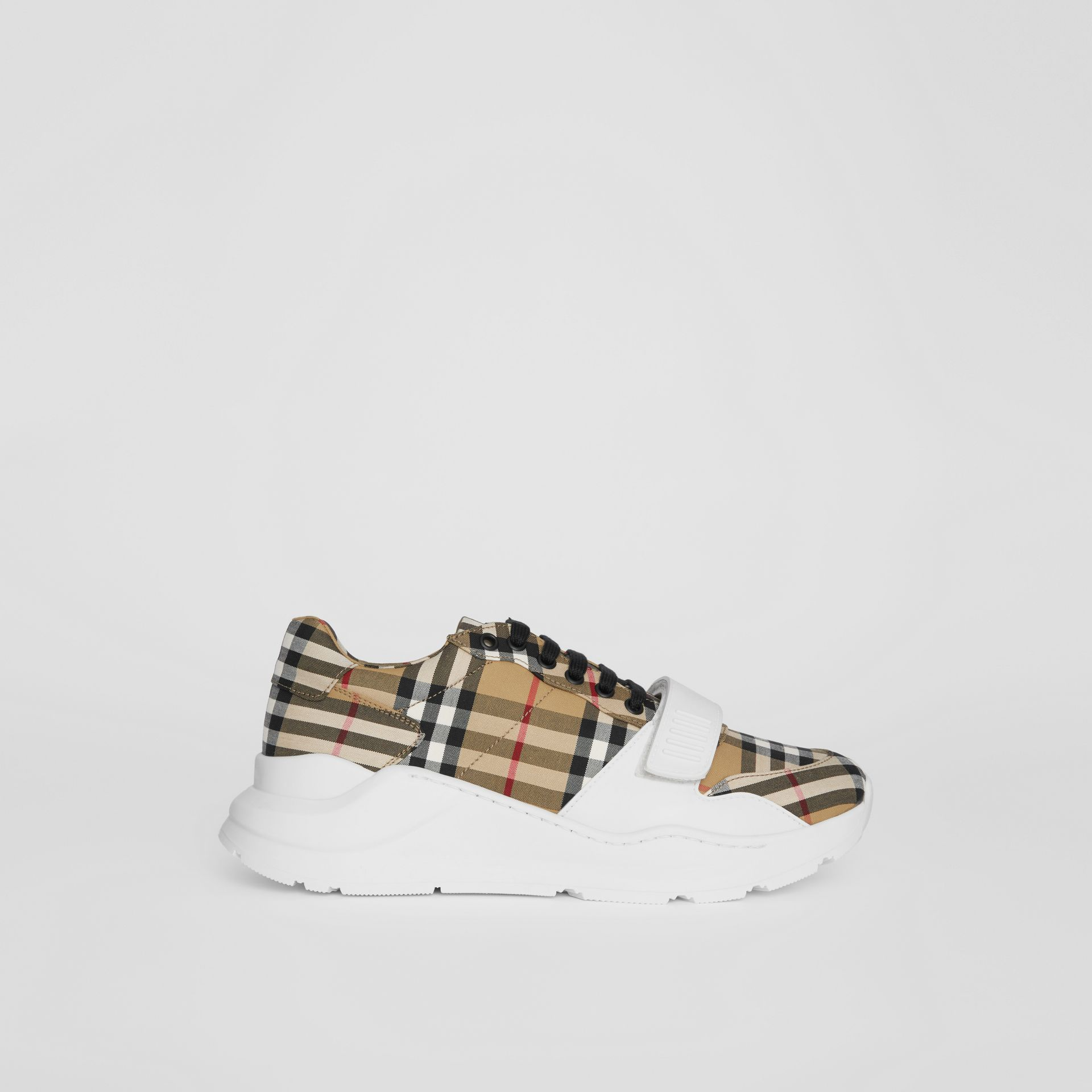 Vintage Check Cotton Sneakers in Antique Yellow - Men | Burberry United Kingdom - gallery image 5