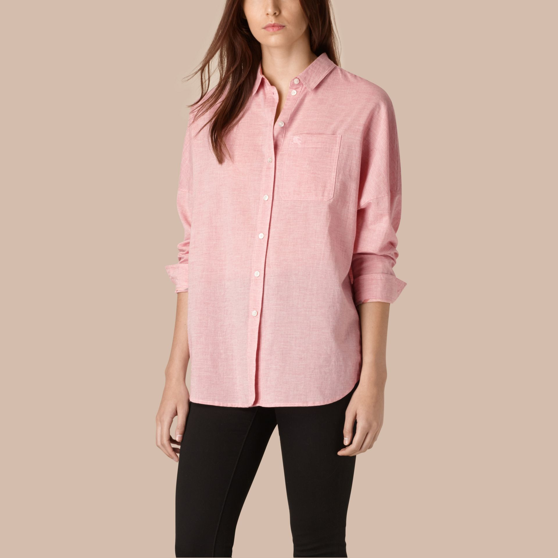 Pale pink melange Oversize Cotton Shirt - gallery image 1