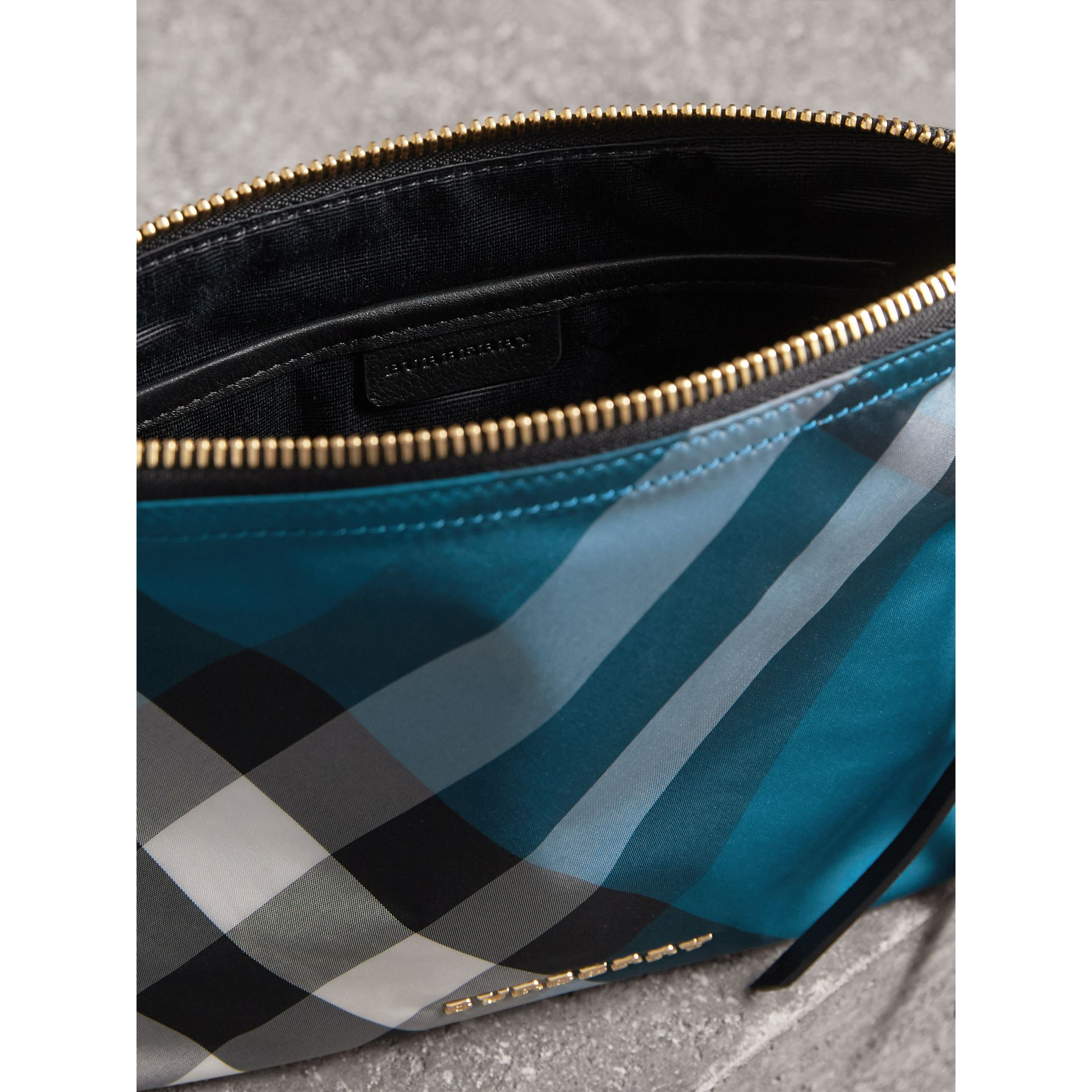 Large Zip-top Check Pouch in Marine Blue - Women | Burberry - gallery image 5