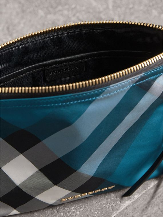 Large Zip-top Check Pouch in Marine Blue - Women | Burberry - cell image 3