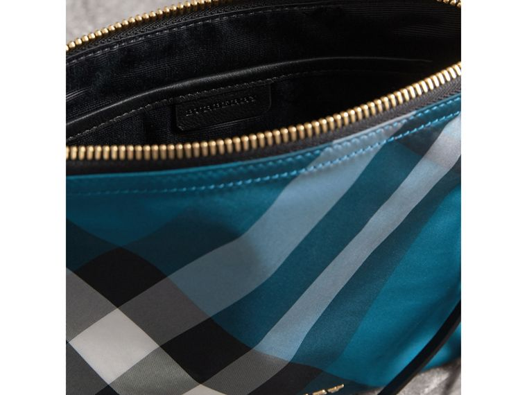 Large Zip-top Check Pouch in Marine Blue - Women | Burberry - cell image 4
