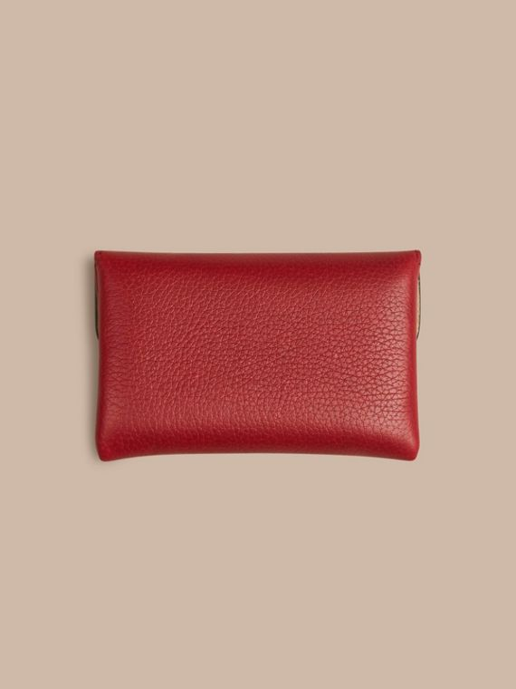 Grainy Leather Playing Card Case in Parade Red | Burberry - cell image 3